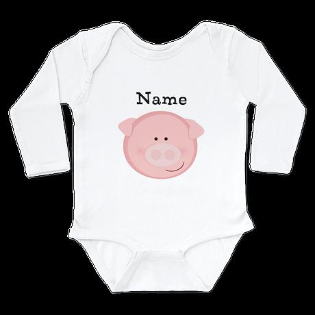 Personalized Pig Long Sleeve Infant Bodysuit