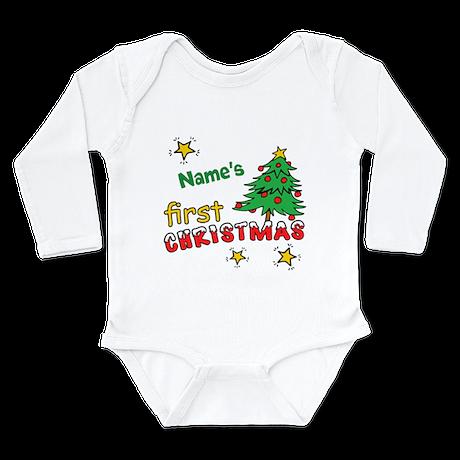 Custom First Christmas Long Sleeve Infant Bodysuit