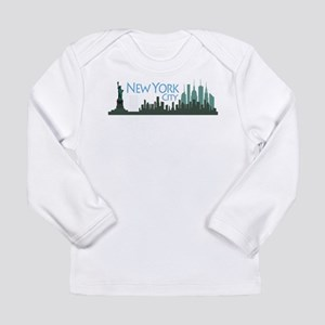 NYC Liberty Skyline textured dark Long Sleeve Infa