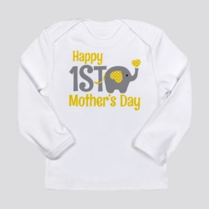 1st Mother's Day Elephant Yellow Long Sleeve T-Shi