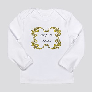 Gold Color Scrolls, Custom Text Long Sleeve Infant