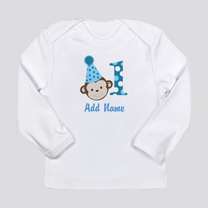 First Birthday Cute Boy Monkey Long Sleeve T-Shirt