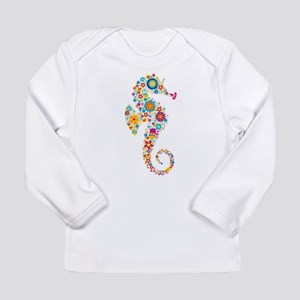 Cute Colorful Retro Floral Sea Long Sleeve T-Shirt
