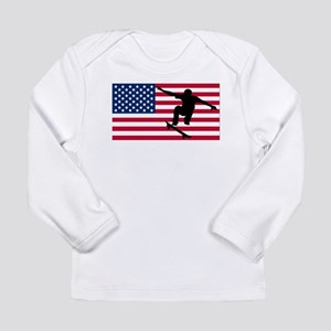 Skateboarding American Flag Long Sleeve T-Shirt
