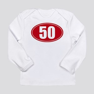 50 miles red oval sticker decal Long Sleeve Infant