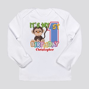 Monkey 1st Birthday Cus Long Sleeve Infant T-Shirt