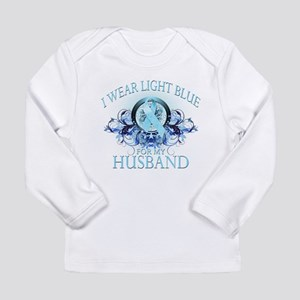 I Wear Light Blue for my Husband (floral) Long Sle
