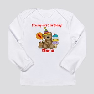 First Birthday Bear Long Sleeve Infant T Shirt