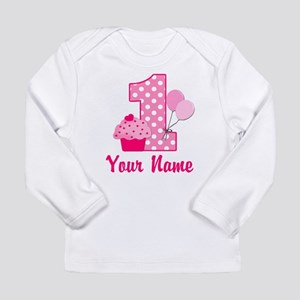 1st Birthday Pink Cupcake Long Sleeve Infant T-Shi