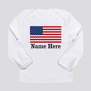 Personalized American Flag Long Sleeve Infant T-Sh