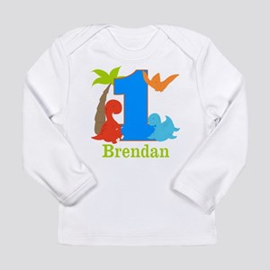 1st Birthday Dinosaur Personalized Long Sleeve T S