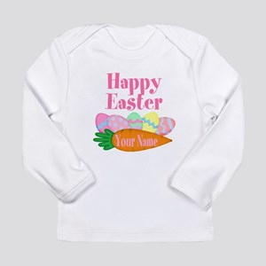 Happy Easter Carrot and Eggs Long Sleeve T-Shirt