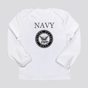 Grey Navy Emblem Long Sleeve T-Shirt