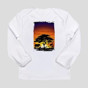 Wild Animals on African Savannah Sunset Long Sleev