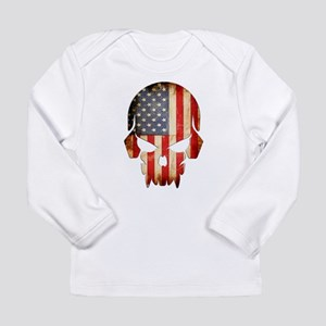 American Flag Skull Long Sleeve T-Shirt