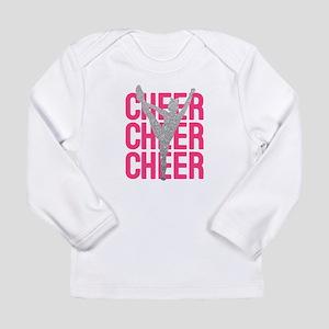 Pink Cheer Glitter Silhouette Long Sleeve T-Shirt