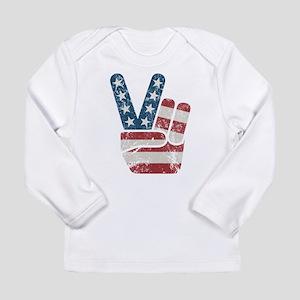 Peace Sign USA Vintage Long Sleeve Infant T-Shirt