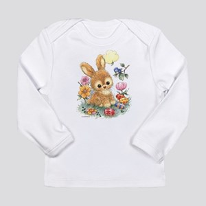 Cute Easter Bunny with Flowers and Eggs Long Sleev