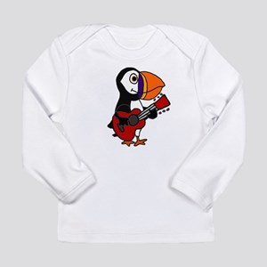 Funny Puffin Bird Playing Guit Long Sleeve T-Shirt