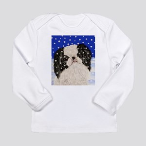 Snowflakes japanese chin Long Sleeve Infant T-Shir