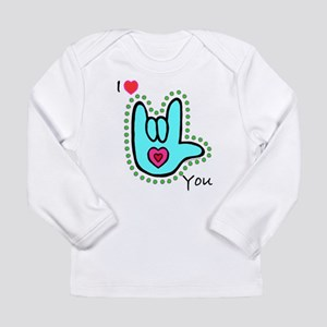 Aqua Bold I-Love-You Long Sleeve Infant T-Shirt