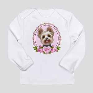 Yorkie pink roses 2 Long Sleeve Infant T-Shirt