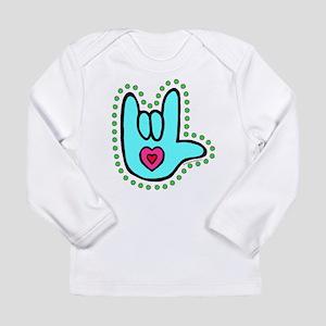 Aqua Bold Love Hand Long Sleeve Infant T-Shirt