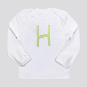 Lime and White Gingham Check Initial H Long Sleeve