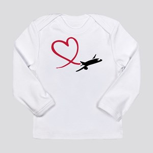Airplane red heart Long Sleeve Infant T-Shirt