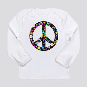 Hippie Flowery Peace Sign Long Sleeve Infant T-Shi