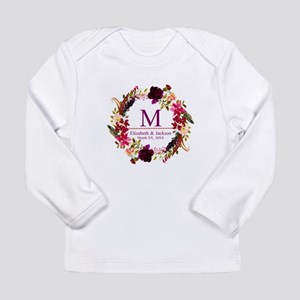 Boho Wreath Wedding Monogram Long Sleeve T-Shirt
