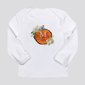 Floral Wood Wedding Monogram Long Sleeve T-Shirt