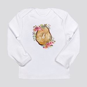 Monogram Initials in Wood Long Sleeve T-Shirt