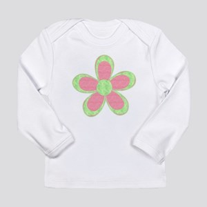 Pink and Green Flowers Long Sleeve T-Shirt