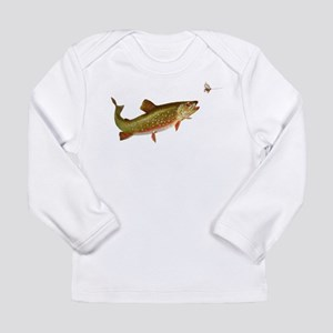 Vintage trout fishing illustration Long Sleeve T-S
