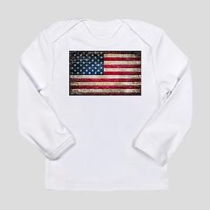 Faded American Flag Long Sleeve T-Shirt