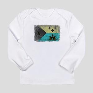 Vintage Grunge Acadian Flag Long Sleeve T-Shirt