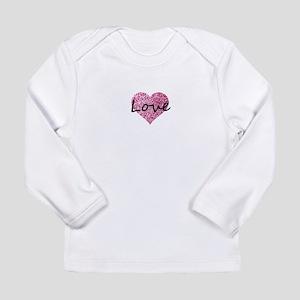 Love Pink Glitter Heart Long Sleeve T-Shirt