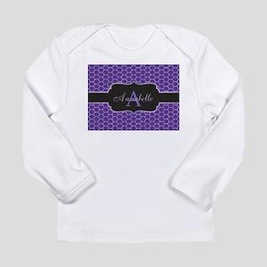 Purple Mermaid Scale Monogram Long Sleeve T-Shirt