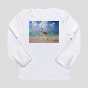 Flamingo On The Beach Long Sleeve T-Shirt