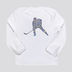 Hockey Player Typography Long Sleeve Infant T-Shir