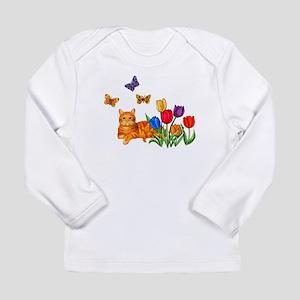 Orange Cat In Tulips Long Sleeve T-Shirt