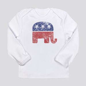 Worn Republican Elephant Long Sleeve Infant T-Shir