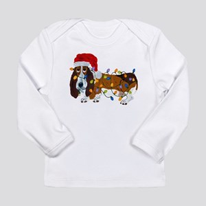 Basset Tangled In Christmas Lights Long Sleeve T-S