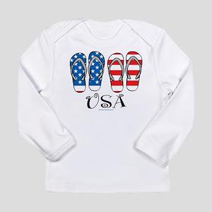 USA Flip Flops Long Sleeve Infant T-Shirt