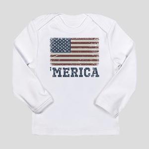 'Merica Flag Vintage Long Sleeve Infant T-Shirt