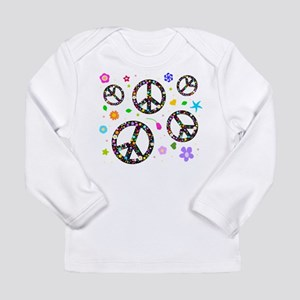 Peace symbols and flowers pat Long Sleeve Infant T