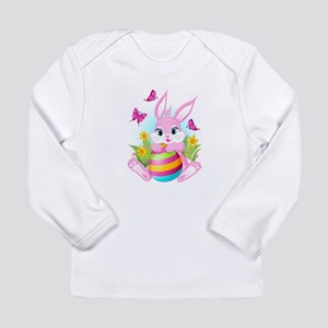 Pink Easter Bunny Long Sleeve Infant T-Shirt