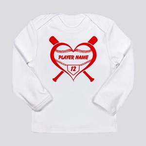 Personalized Baseball Player Heart Long Sleeve T-S