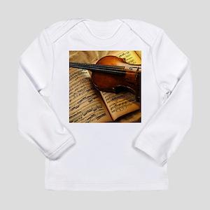 Violin On Music Sheet Long Sleeve T-Shirt
